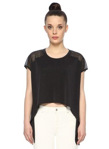 NetWork Kadın 1074557 Basic Fit Kol Detaylı T-shirt Antrasit
